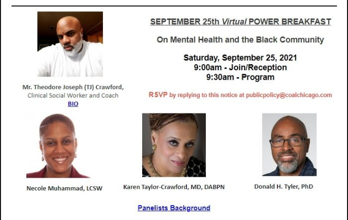 September 25th Coalition Power Breakfast - On Mental Health and the Black Community